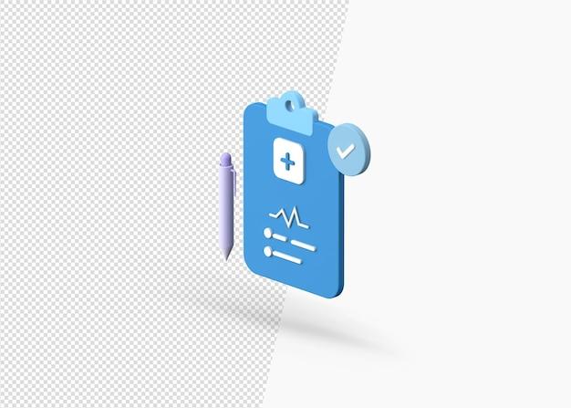 3d рендеринг медицинского отчета на концепции буфера обмена