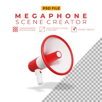 3d rendering of megaphone for scene creator