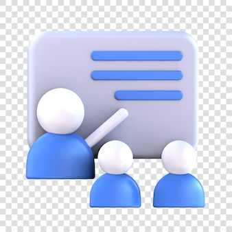 3d 렌더링 멘토 아이콘, 두 학생 앞에서 가르치는 멘토.
