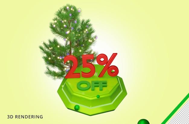 3d рендеринг с рождеством 25 распродажа premium psd