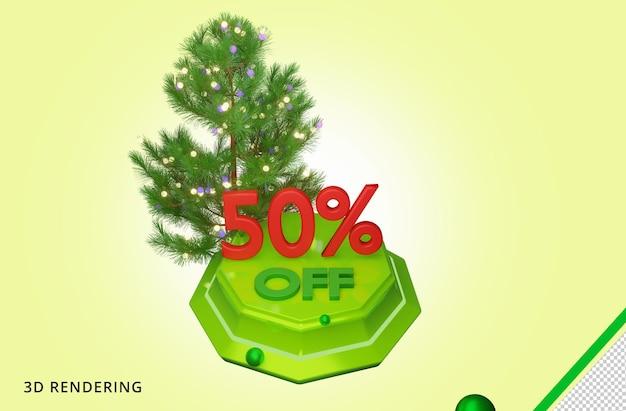 3d рендеринг с рождеством 50 распродажа premium psd