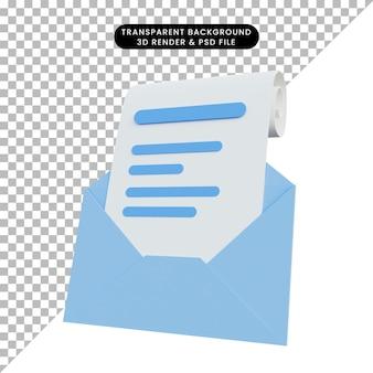 手紙の3dレンダリングメッセージ