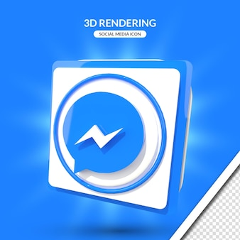 Значок социальных сетей мессенджера 3d рендеринга