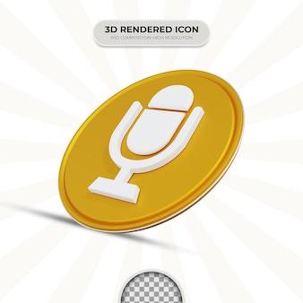 Значок микрофона 3d рендеринга