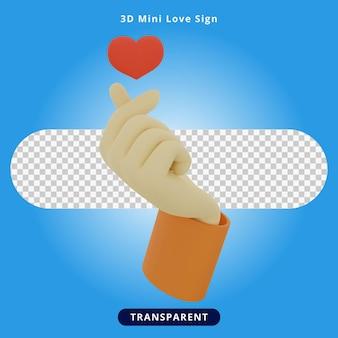 3d rendering mini love sign illustration