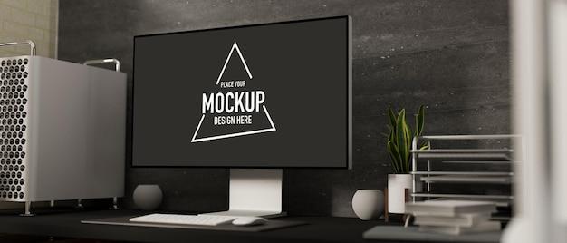 コンピュータモックアップを備えた最小限のオフィスルームの3dレンダリング