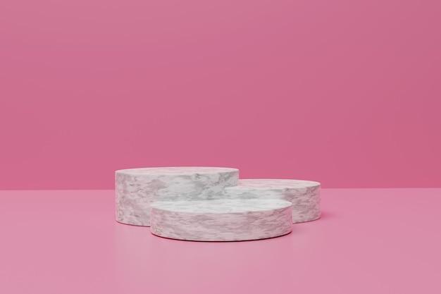 제품 배치를위한 3d 렌더링 미니멀 핑크 연단
