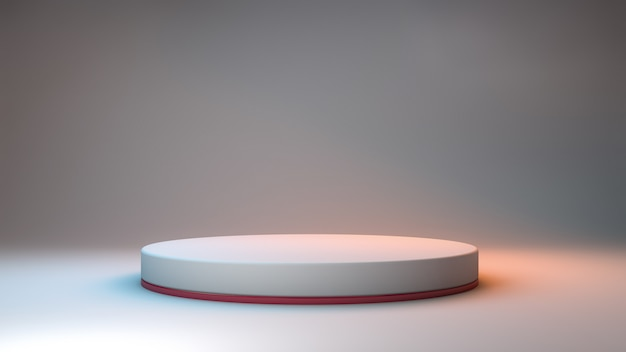 3d rendering of a minimalist podium on a neutral room and colored lights for product presentation