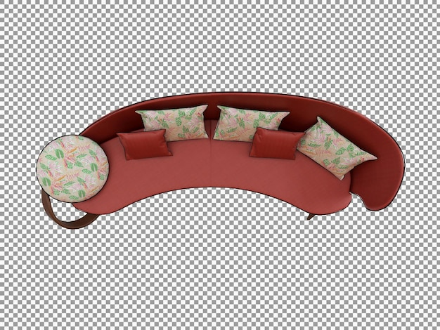 3d rendering of minimalist sofa with wooden interior isolated