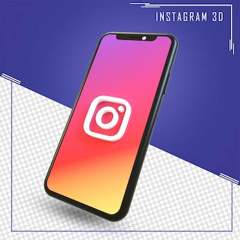 3d rendering of mobile with instagram icon isolated