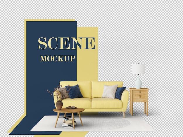 3d-рендеринг макета сцены, украшенной желтым диваном и журнальным столиком
