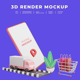 3d rendering mockup smartphone flat illustration