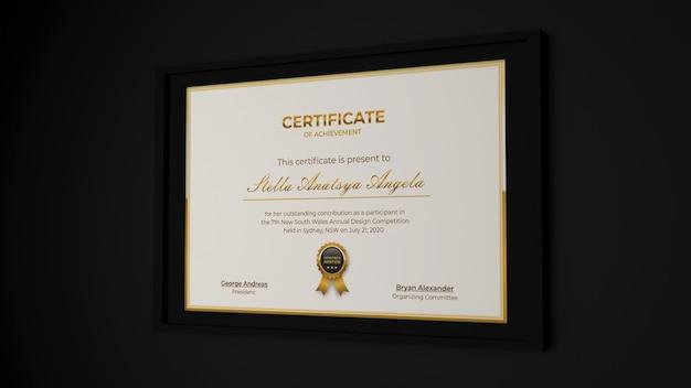 3d-рендеринг современный сертификат реалистичный дизайн макета в элегантном черном интерьере