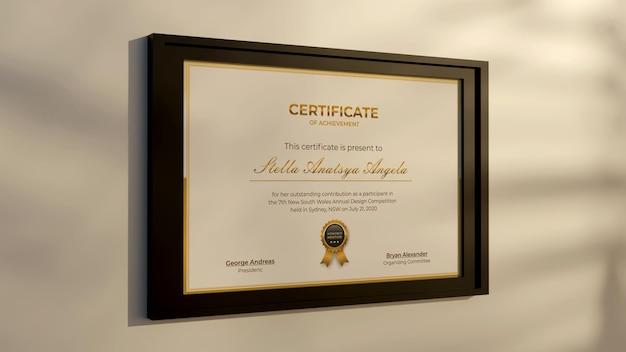 3d-рендеринг современный сертификат реалистичный дизайн макета
