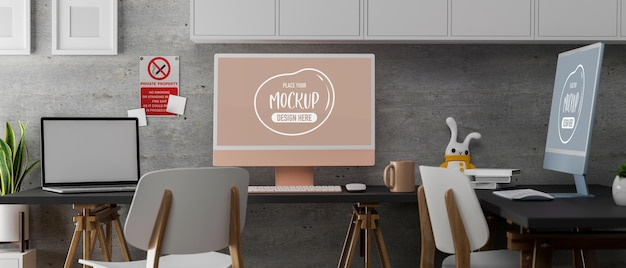3d rendering of modern coworking space with computer mockup