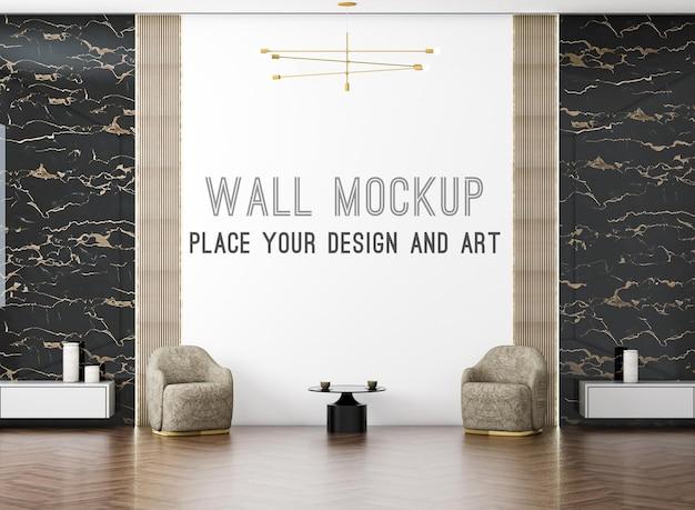 3d рендеринг современной роскошной гостиной и кресла с макетом стены на яркой стене