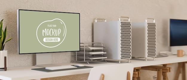 3d рендеринг современный дизайн интерьера офисной комнаты два офисных стола с компьютерным макетом