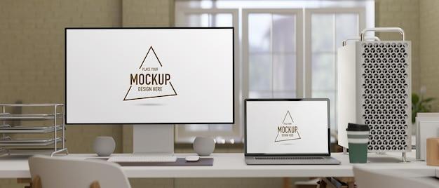 コンピューターデバイスのモックアップを使用した3dレンダリングの現代的な職場
