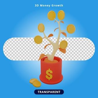 3dレンダリングのお金の成長の図