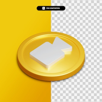 3d rendering multimedia icon on golden circle isolated