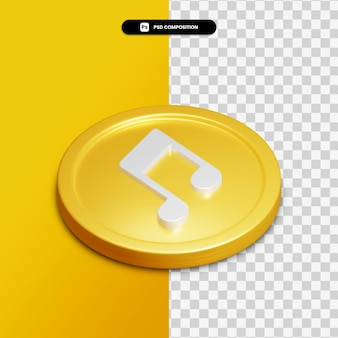 고립 된 황금 동그라미에 3d 렌더링 음악 아이콘 프리미엄 PSD 파일