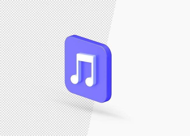 사각형 둥근 모양에 고립 된 3d 렌더링 음악 노트 아이콘