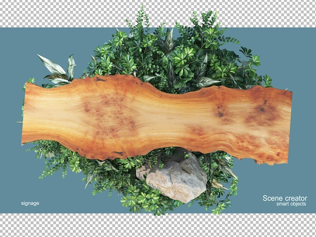 3d rendering of natural wood with plants isolated