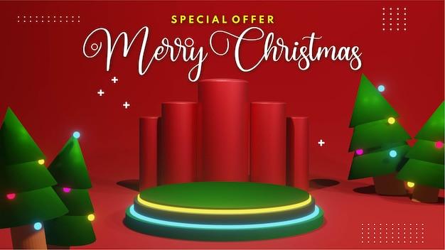 製品プレゼンテーションの配置のための3dレンダリングネオンクリスマス表彰台はクリスマス表彰台の販売と結婚します