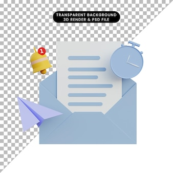 3d rendering notification letter with bell clock and paper plane