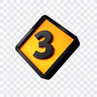 3d rendering of number 3