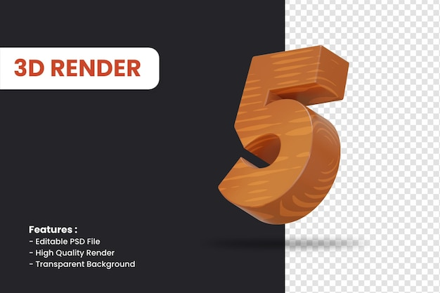 3d rendering of number 5 with wood texture effect isolated