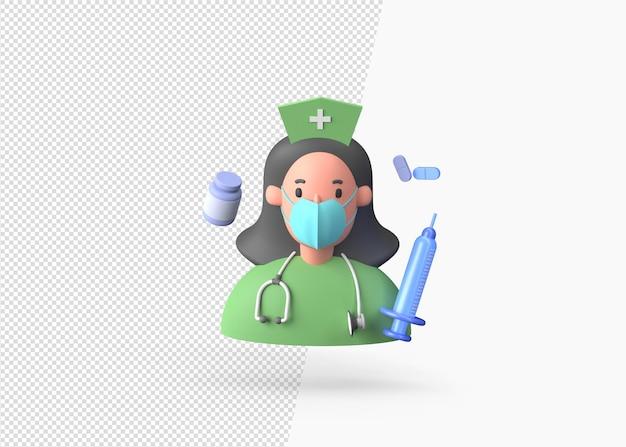 3d-рендеринг медсестры со шприцем или капсулой