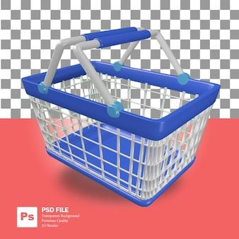 3dレンダリングオブジェクトアイコン青いショッピングカートバスケットスーパーマーケット