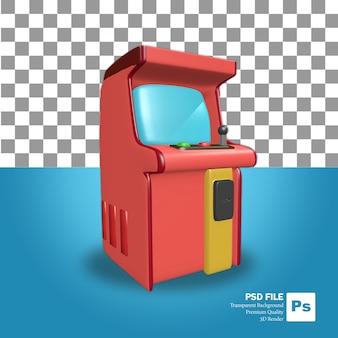 3d 렌더링 개체 아이콘 하나의 빨간색 아케이드 게임기