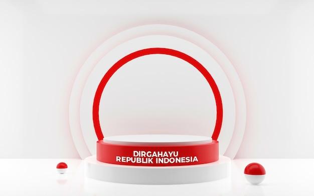 8月17日インドネシアの幸せな独立記念日のグリーティングカードの3dレンダリング