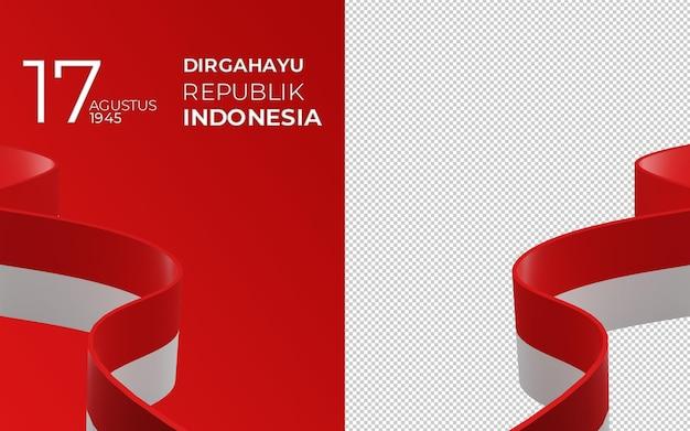 8월 17일 인도네시아 독립 기념일 인사말 카드의 3d 렌더링