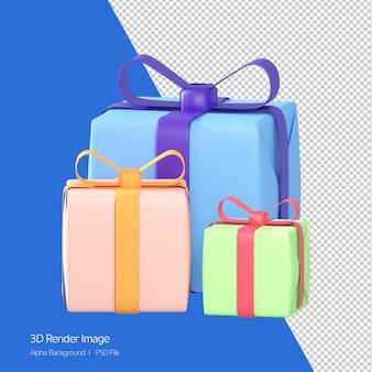 3 선물 상자, 화이트 절연 다채로운 선물의 3d 렌더링.