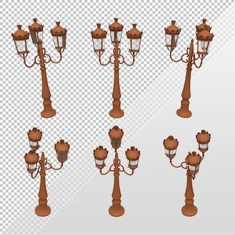 3d-рендеринг коричневого старого уличного фонаря и садового фонаря с точки зрения орфографии и перспективы