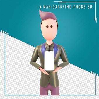 3d-рендеринг персонажа, держащего пустой экран мобильного телефона