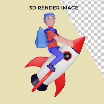 3d-рендеринг персонажа на ракете с концепцией обратно в школу