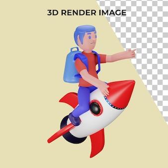 学校に戻るというコンセプトでロケットに乗るキャラクターの3dレンダリング