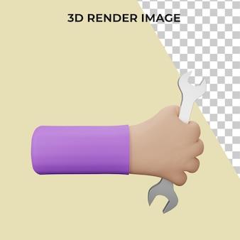 렌치 도구를 들고 손의 3d 렌더링 프리미엄 psd
