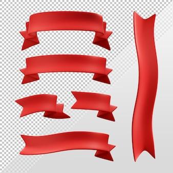 赤いドフリボンのセットの3dレンダリング