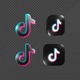 다양한 관점에서 빛나는 틱톡 아이콘 로고의 3d 렌더링
