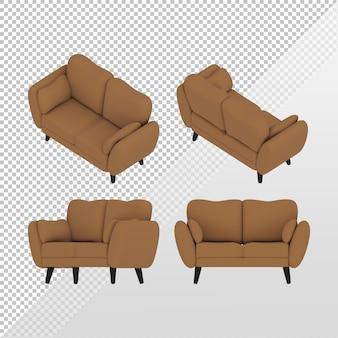 正投影上面図のさまざまな側面からのシンプルな茶色のソファの3dレンダリング
