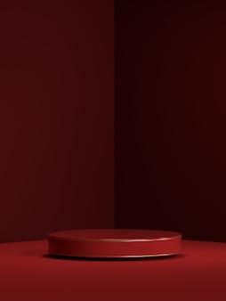 製品表示用の抽象的なシーンジオメトリ形状表彰台の3dレンダリング
