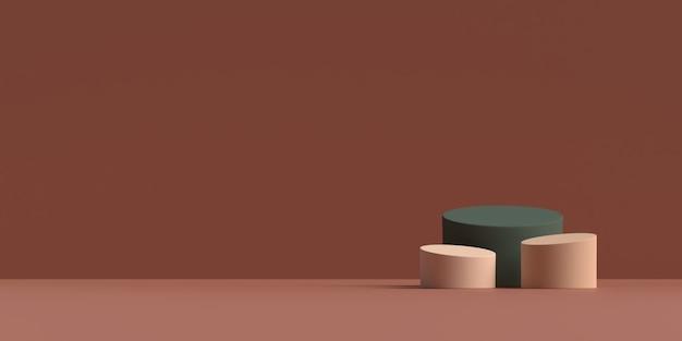 추상 장면 기하학 모양 연단의 3d 렌더링