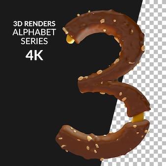 3d-рендеринг цифр алфавита изолированы
