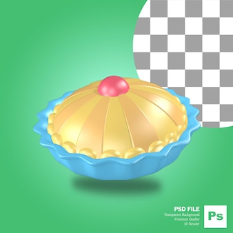 青いボウルとアップルパイケーキオブジェクトの3dレンダリング