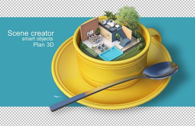 커피 컵에 건축 계획의 3d 렌더링